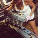 amateur photo Braless Mechanic