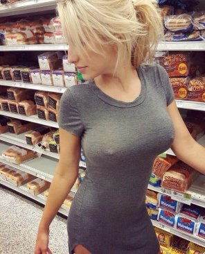 amateur photo Busting out, at the store