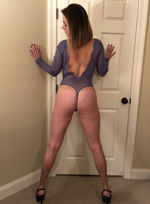 amateur photo [F]rom behind in my Lace Thong Lingerie...
