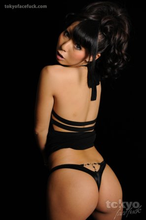 amateur photo Japanese model in a black thong