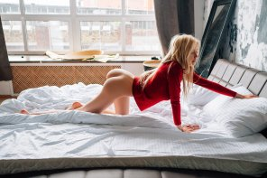 amateur photo Stretching on the bed