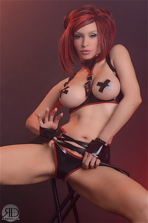 amateur photo Redhead latex doll