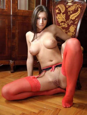 amateur photo Red Stockings & Garter Belt