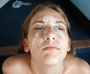 amateur photo A massive load on her face