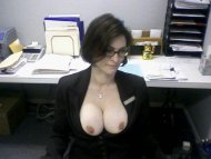 amateur photo Popping them out at her job