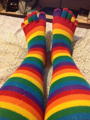 amateur photo One of my favorite pairs! Rainbow toe socks!