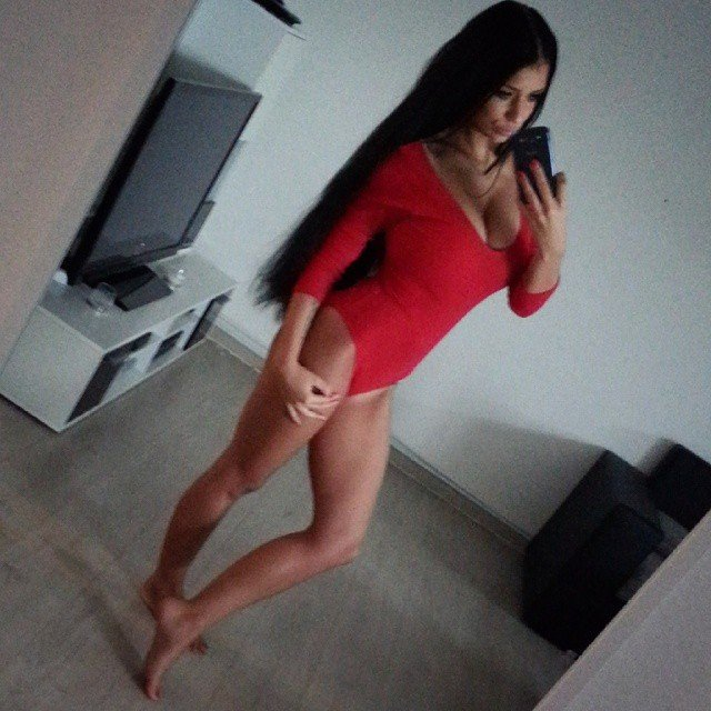 In her red body Porn Photo