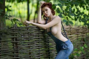 amateur photo Redhead in overalls