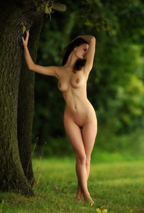 amateur photo Hourglass leaning against tree