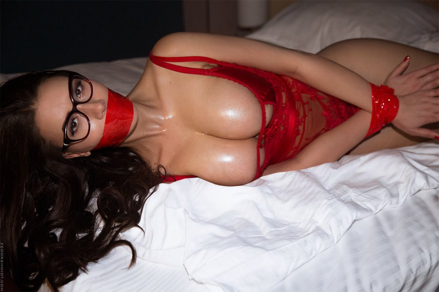 Red lingerie, with matching tape Porn Photo