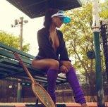 Violet with a visor