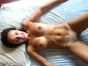 amateur photo Creamy load on her belly