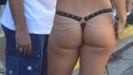 Reporter in Leather Thong at Fantasy Fest