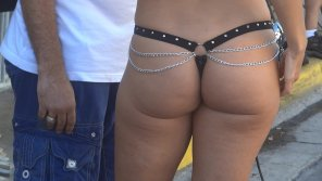 amateur photo Reporter in Leather Thong at Fantasy Fest