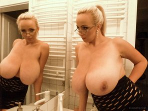 amateur photo Busty blonde Agnetis with glasses