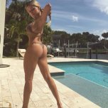 amateur photo Showing off by the pool