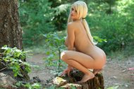 Delicious big breasted beauty naked in the forest