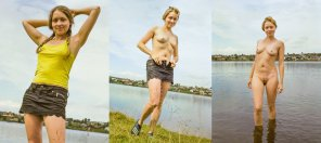 amateur photo Stripping For A Dip In The Lake