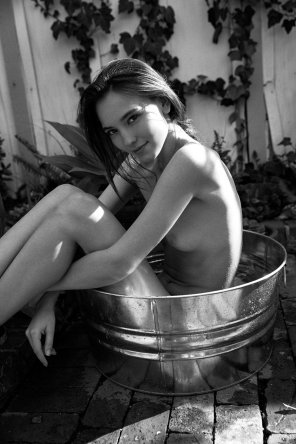 amateur photo Babe in a bucket