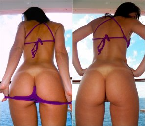 amateur photo High resolution side by side peeling off my thong bathing suit. Do you like the suspense better or the reveal?