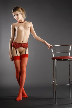 amateur photo Red stockings
