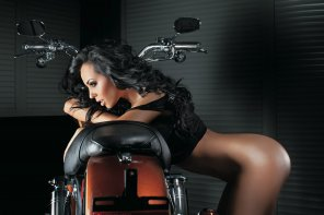 amateur photo Babe on a bike