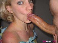 Pretty blue eyed milf sucking a thick white cock.