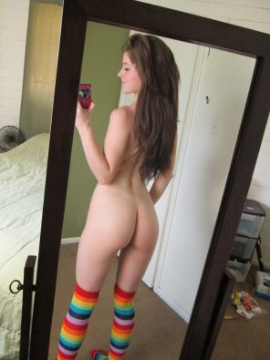 amateur photo cute girl in rainbow socks