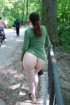amateur photo Showing her nice, big, round ass at the park.