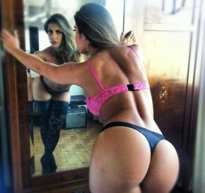 amateur photo Big ass in thong in front the mirror