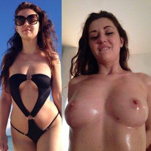 amateur photo Swimsuit on / off