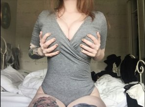 amateur photo Tattooed red head boob grab
