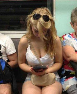 amateur photo Unaware Subway Hottie