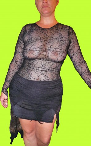 amateur photo [Image] The wife says Happy Halloween - she is wearing this spider web shirt to a huge Halloween party this year - enjoy and share to spread the joy o