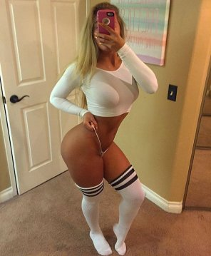 amateur photo Blonde with thigh highs