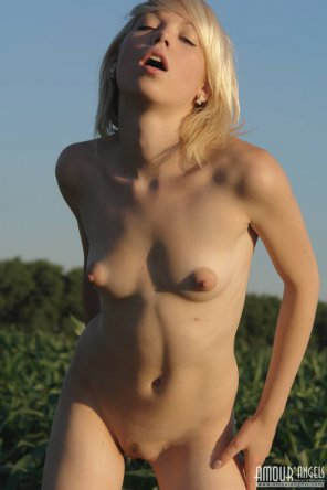 amateur photo Hot blonde at sunset