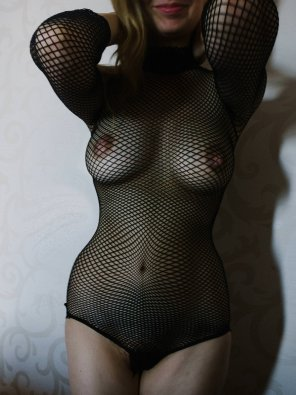 amateur photo busty petite me all wrapped up in fishnet. hope you like... -xoJJ