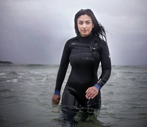 amateur photo Norwegian politician in tight wetsuit