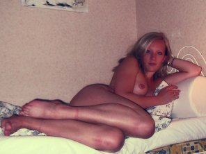 amateur photo Waiting on her bed for you