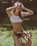 amateur photo Babe on her bike