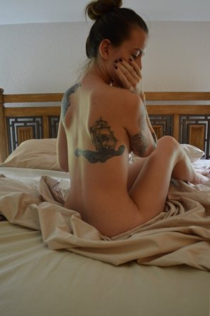 amateur photo PictureTatted on bed