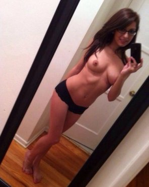 amateur photo Black panties and glasses