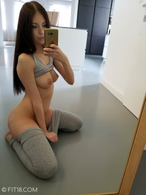 amateur photo Rebecca Stripping Out of Gym Clothes selfie
