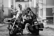 Biker Chicks Share A Cigar