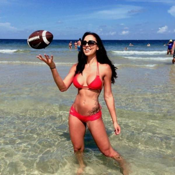 On beach breasts the