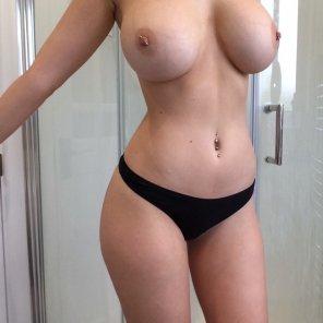 amateur photo Black panties and pirced titties