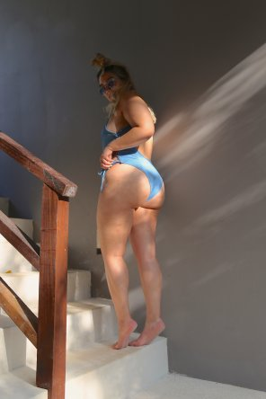 amateur photo Nadia Aboulhosn in a tiny denim bodysuit