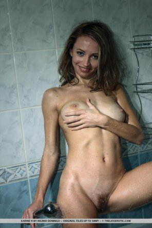 amateur photo smiling in the shower