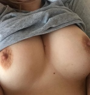 amateur photo My boobs is getting out to say Merry Christmas!