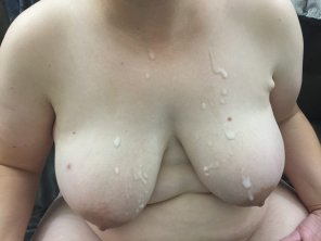 amateur photo Wifes creamy covered boobies.